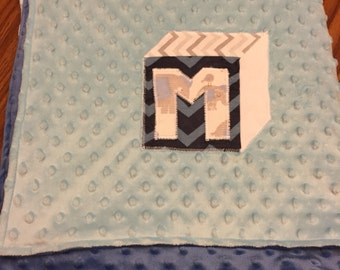 Minky Dot baby blanket with personalized baby block applique