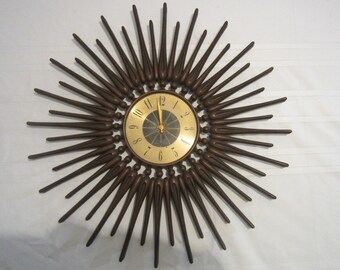 Mid Century Modern Atomic Westclox Starburst / Sunburst Clock (Not Working)