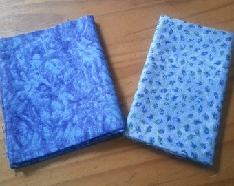 Set of Blue Fabric Scraps, fat quarter, blue floral fabric, abstract, pair