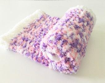 Pink Purple Baby Blanket, Crochet Baby Blanket, Pink Baby Blanket, Photo Prop, Baby Gift, Purple Baby Blanket, Newborn Blanket Ready to ship