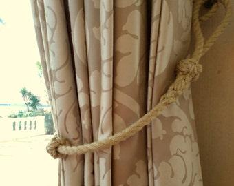 Nautical Curtain Tie Back, Handmade With Spliced Rope And Turks Head Knots,  Beach