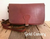 Vintage Chestnut Brown Leather Satchel Shoulder Crossbody Bag Handbag Boho