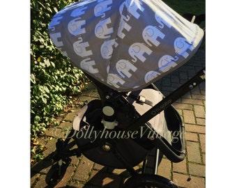 Custom hood canopy for Bugaboo Cameleon 1,2 & 3 elephant print grey white