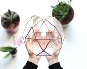 Geometric Terrarium Container, Mothers Day Gift, Succulent Planter, Copper Home Decor, Coworker Gifts, Stained Glass Planter, Wedding Gift