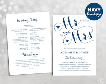 Navy Blue Wedding Program, Printable Wedding Program Template, DIY Wedding Programs, INSTANT DOWNLOAD, Editable Text, Mr Mrs VW05