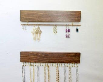 Jewelry Organizer, Necklace Holder Wall, Earring Holder Wall, 12 in. Length (23 Hks) or 16 in. Length (29 Hks), Removable Bar, 2 Pieces
