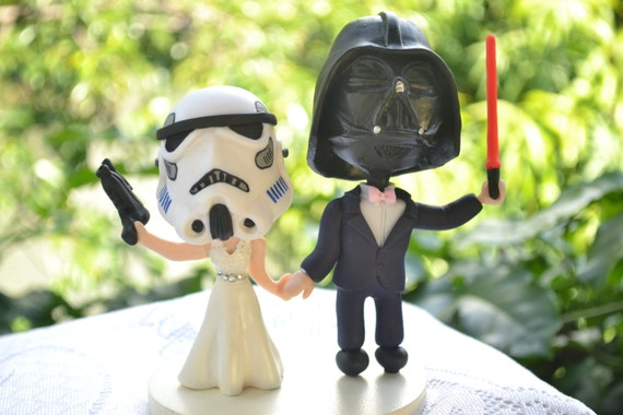 stormtrooper wedding cake topper items similar to stormtrooper and vader groom 20536