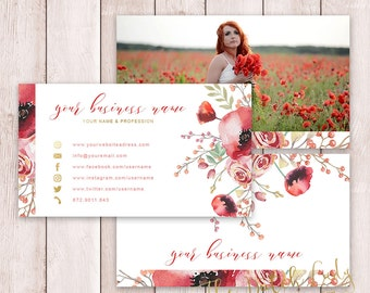 Photoshop Business Card - 3 Part Design - INSTANT DOWNLOAD - Layered .PSD Files - Design #6