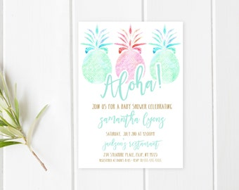 Baby Shower Invitation, Aloha Baby Shower Invitation, Tropical Baby Shower Invitation, Summer Baby Shower Invites, Summer Baby Shower [497]