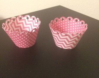 12 pink reversible mini cupcake wrappers