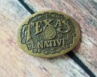 70s Vtg Texas Belt Buckle/Bronze