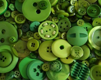 Green Button Mix - Assorted Buttons - Craft Buttons - Sewing Buttons - Plastic Buttons - Buttons For Clothing - 50g (approx. 80pcs) - CUK5
