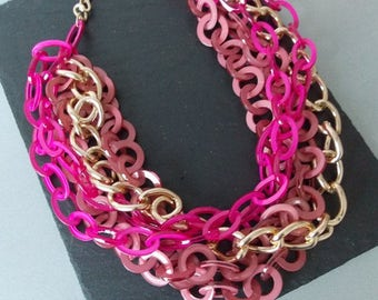 Chunky Pink Chain Statement Necklace