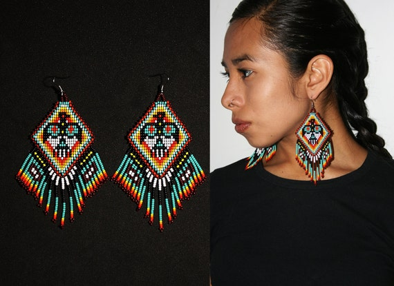 Boho Tribal Fashion Earrings, Native American Beaded Earrings, Beaded Eagle Earrings, Thunderbird Earrings, Tribal Statement Earrings
