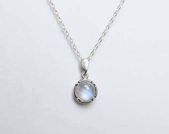 Choker silver dainty. Rainbow Moonstone. Gift-for-woman. Moonstone necklace. Christmas gifts for her. Dainty choker chain. June birthstone.