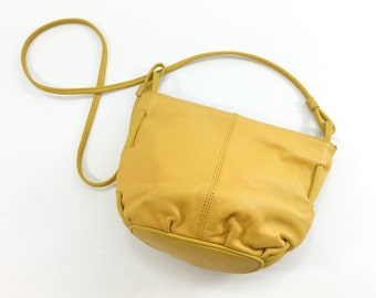 80s Yellow Leather Shoulder Bag | Marigold Leather Purse