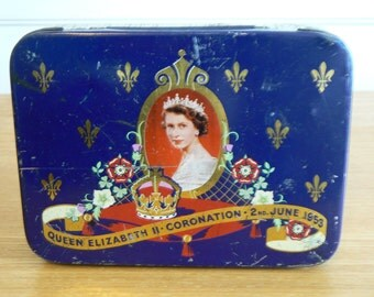 A Lovely Collectible Tin Commemorating The Coronation of Queen Elizabeth II.