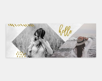 Facebook Timeline Cover Template - Modern Gold Social Media Marketing Template for Photographers - Modern Gold Accents - Photoshop Template