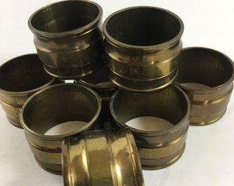 Vintage Set of 8 Brass Napkin Rings
