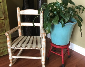 SOLD!!! Sweet Shabby Child's Slatted Rocking Chair