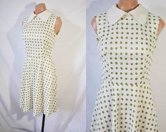 Vintage 60s Green Polka Dot Casual Dress Sleeveless Mod Dress A Line Mini Dress Twiggy Style Day Dress Mad Men Summer Party Scooter Dress