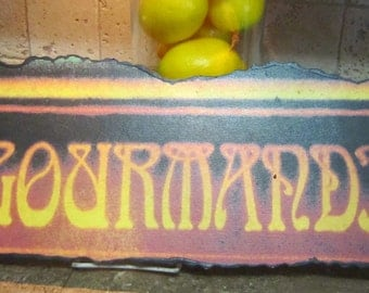 "Vintage Sign - ""La Gourmandine"" Sign, Sign Reproduction, Numbered, Paris, France Sign"