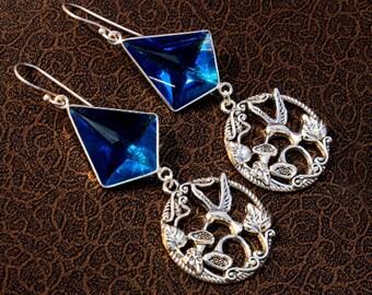 AAA Blue Topaz Quartz Hummingbird Charm Earrings / Faceted Tie Gemstone Earrings / Bezel Set Gemstone Earrings MJ37