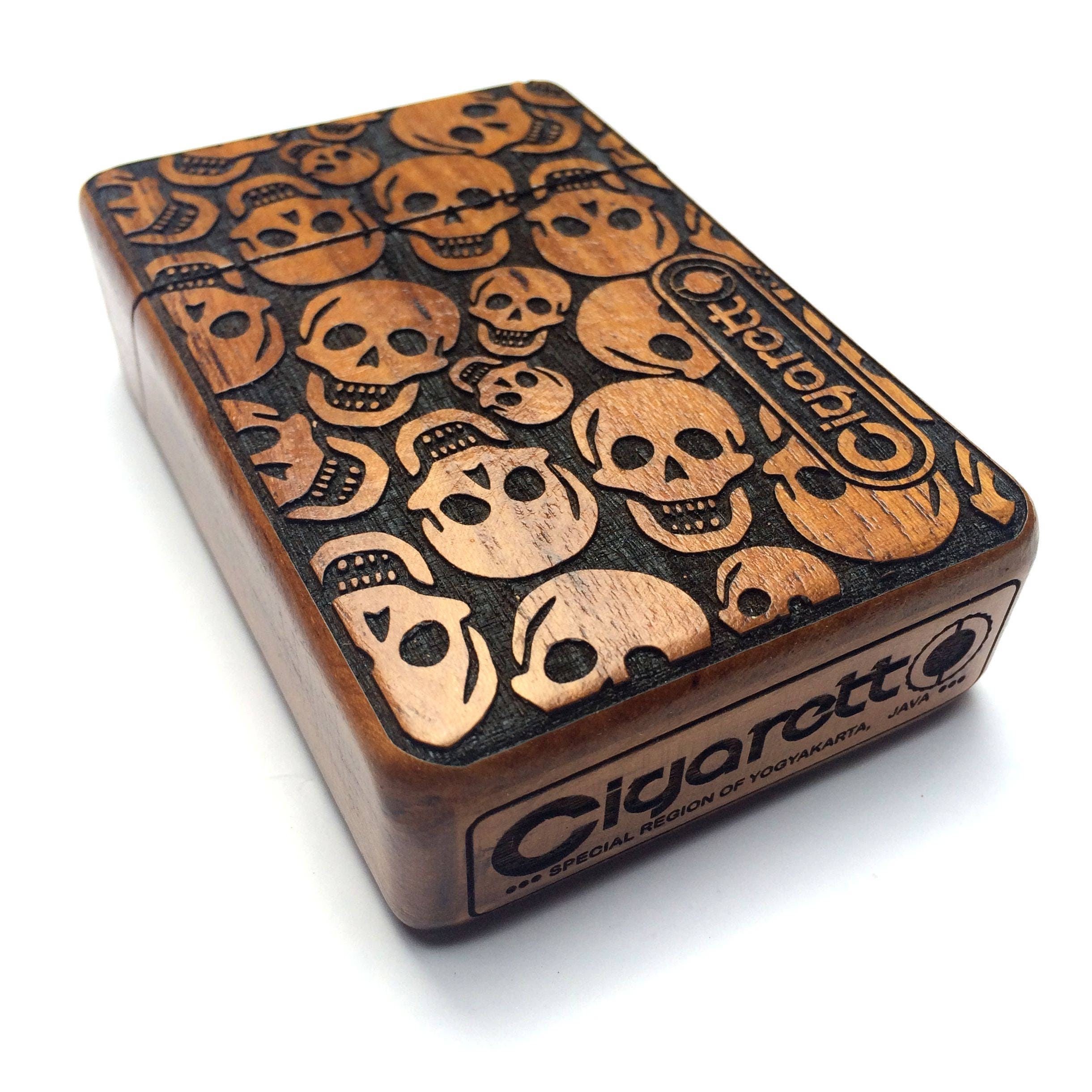 Pirates Skull Wooden Box, Wood Cigarette Case, Vintage Cigarette Box ...