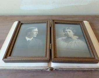 antique bi fold picture frame victorian portraits black and white photos old picture frame