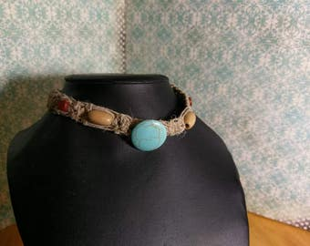 Intricate turquoise hemp necklace