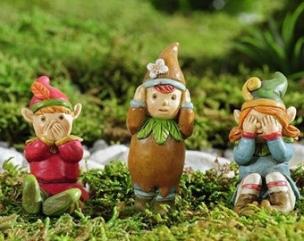 Fairy Garden  - Enchanted Forest Pixies Set of 3 - Miniature