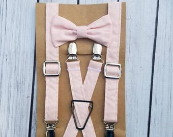Light Pink Suspenders and Bow Tie, Adjustable Neck Strap, Clip On OR Nylon Band, Hair Bow, Pink, Easter, Spring, Ring Bearer, Baby, Boy