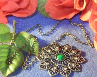 Antiqued Flower Necklace, Starburst, Gift for Her