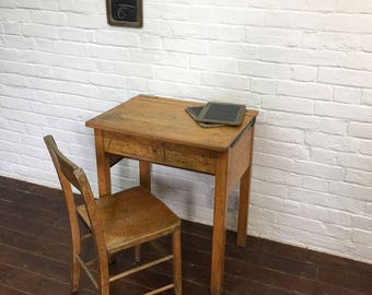 Industrial Vintage Wooden School Desk and Chair Set