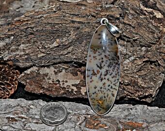 Dendrite Silver Pendant - Natural Dendrite Pendant - Dendrite Stone Pendant - Dendrite Pendant, 925 Sterling Silver