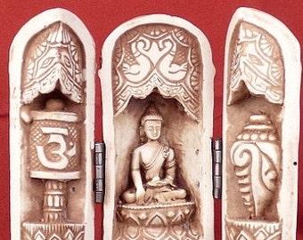TEMPLE ALTAR BUDDHIST triptych portable meditation ritual Buddha statue portable tem1.1
