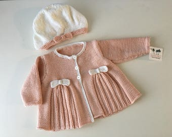 Peaches and Cream Baby Beret with Matching Cardi