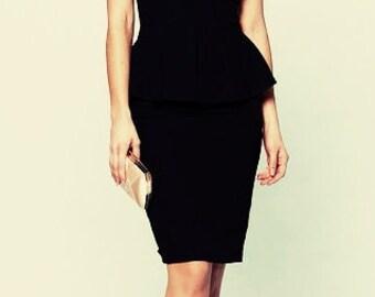 Black sleeveless dress LBD Casual clothing for women Dress with Basque knee length Evening Dress