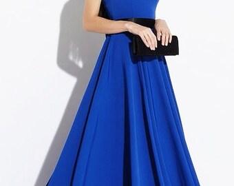 Cobalt Blue maxi dress Dress floor Sleeveless dress Contrast dress Long blue dress Prom maxi dress Wedding dress Evening dress bridermaid