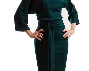 Emerald elegant dress Knee length dark green dress TREND dress with belt Business woman clothes
