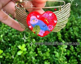 Budgie Parakeet Brooch Badge