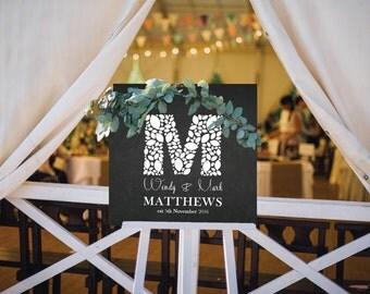 Monogram Wedding sign| wedding chalkboard| home decor