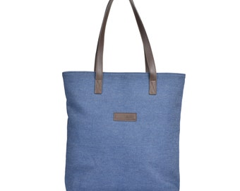Denim Tote with Brown Leather Handles and Floral Lining