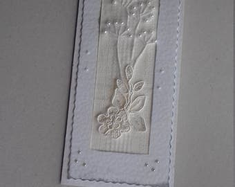 Embroidered Card. Handmade Paper Card. Textile Card. Ribbon Embroidery. Anniversary Card with Flowers. Embroidered Floral Card. White Card.