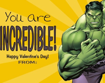 Hulk Valentine Cards Print at Home File