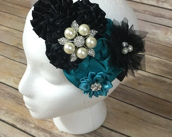 Teal and black over the top flower headband