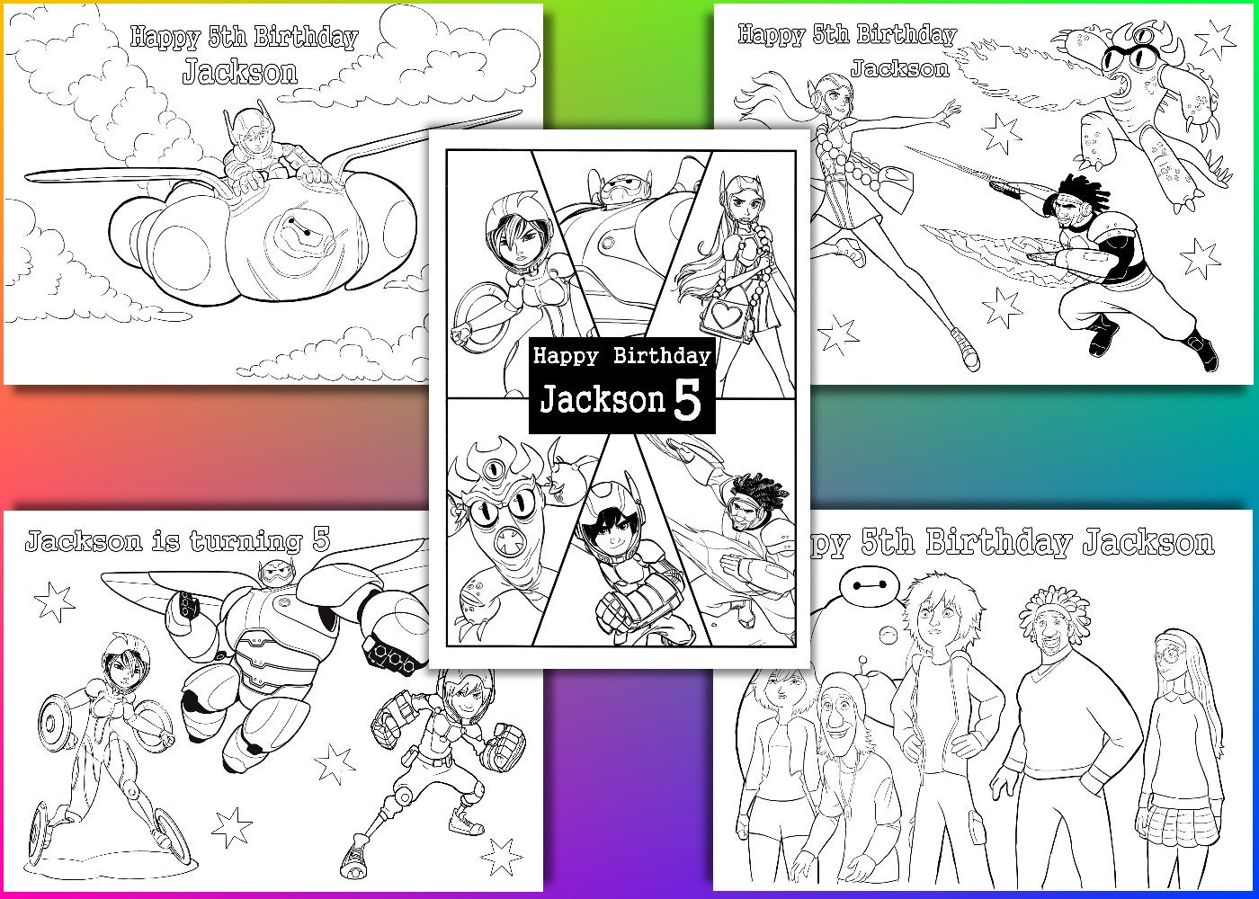 Big Hero 6 Coloring Pages Birthday Party Favor