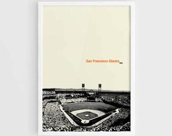 San Francisco Giants, AT&T Park MLB Stadium - A3 Wall Art Print MLB Poster, Major League Baseball, World Series champions, Baseball