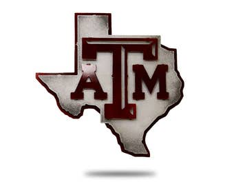 Texas A&M University Logo 3D Vintage Metal Artwork