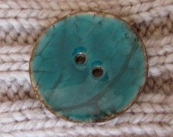 Green Enamel Coconut Button